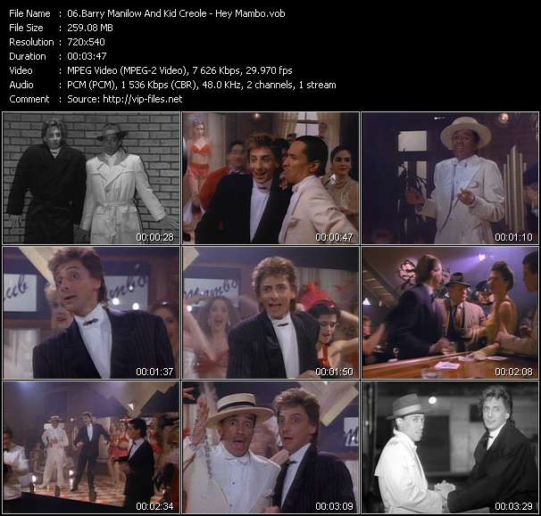 Screenshot of Music Video Barry Manilow And Kid Creole - Hey Mambo