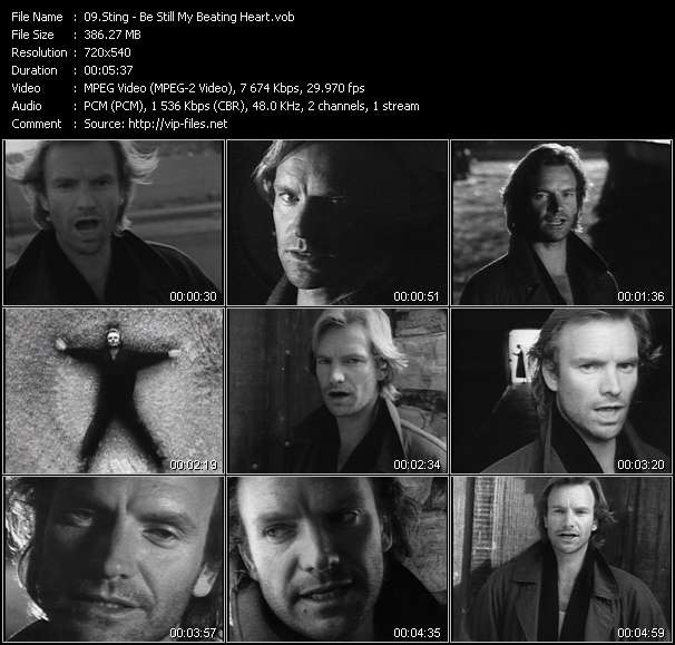 Screenshot of Music Video Sting - Be Still My Beating Heart