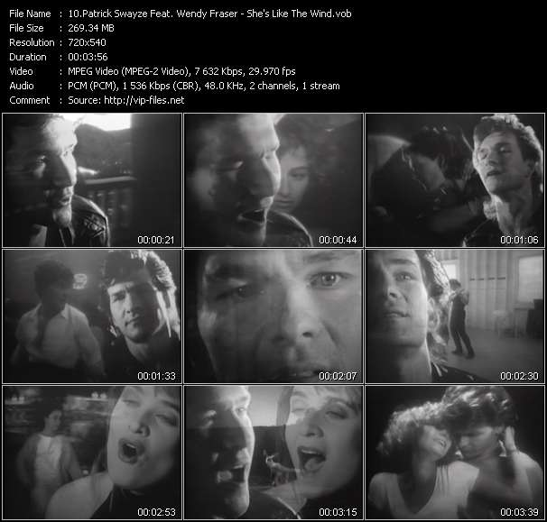 Screenshot of Music Video Patrick Swayze Feat. Wendy Fraser - She's Like The Wind