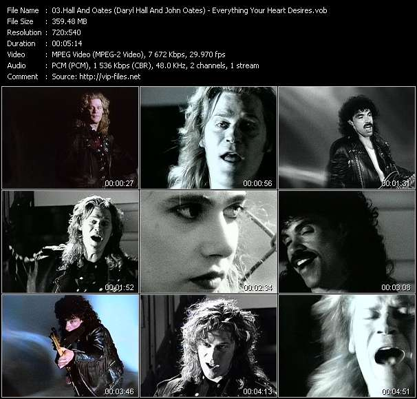 Screenshot of Music Video Hall And Oates (Daryl Hall And John Oates) - Everything Your Heart Desires
