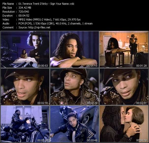 Screenshot of Music Video Terence Trent D'Arby - Sign Your Name