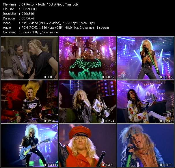 Screenshot of Music Video Poison - Nothin' But A Good Time