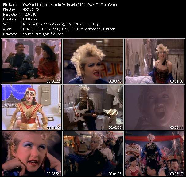Screenshot of Music Video Cyndi Lauper - Hole In My Heart (All The Way To China)