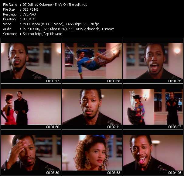 Screenshot of Music Video Jeffrey Osborne - She's On The Left