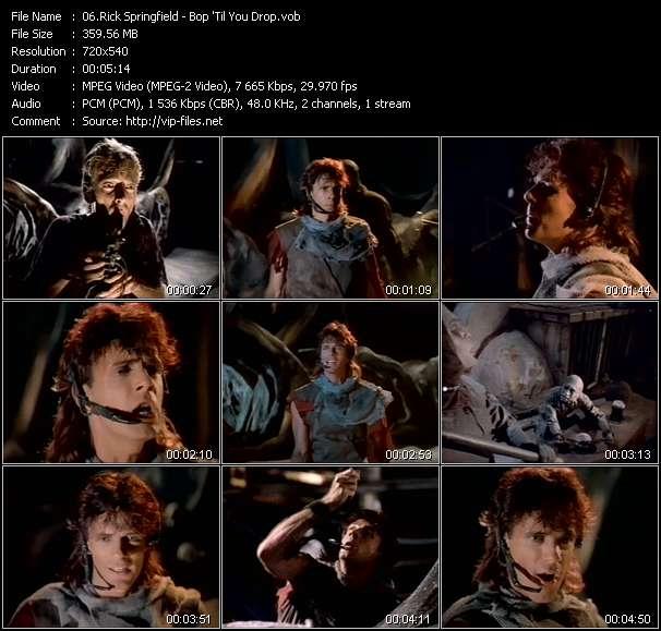 Screenshot of Music Video Rick Springfield - Bop 'Til You Drop