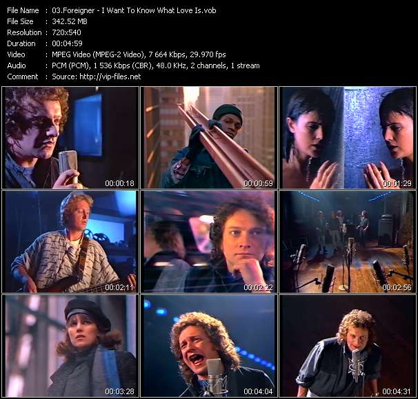 Screenshot of Music Video Foreigner - I Want To Know What Love Is