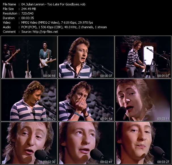 Screenshot of Music Video Julian Lennon - Too Late For Goodbyes