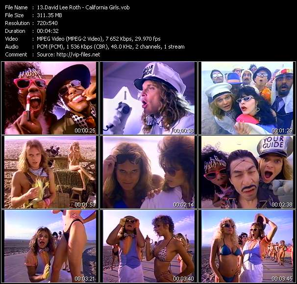 Screenshot of Music Video David Lee Roth - California Girls