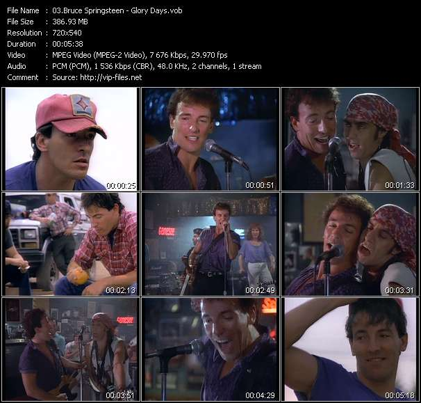 Screenshot of Music Video Bruce Springsteen - Glory Days