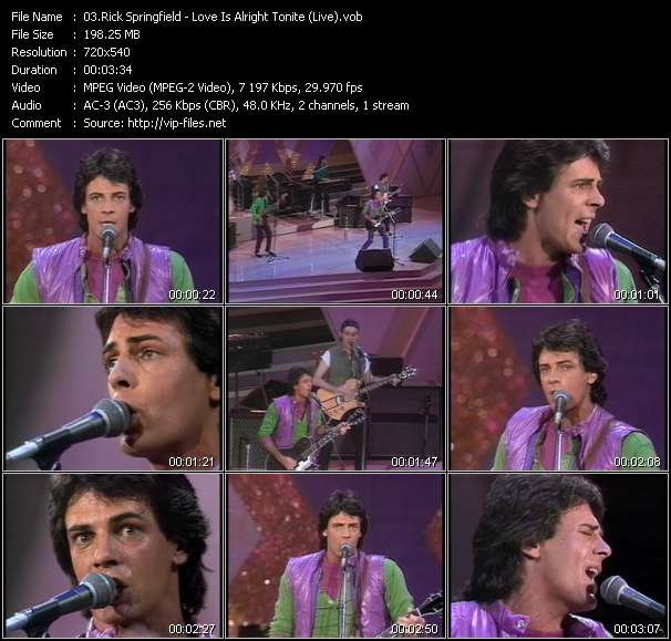 Screenshot of Music Video Rick Springfield - Love Is Alright Tonite (Live)