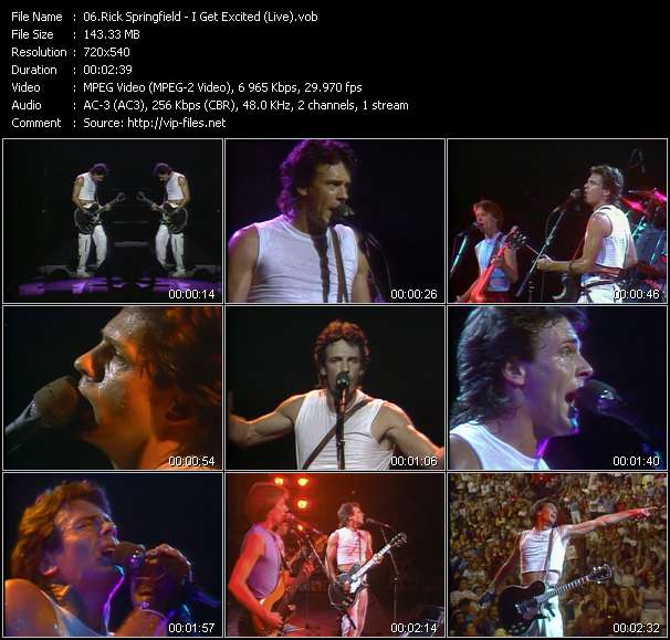 Screenshot of Music Video Rick Springfield - I Get Excited (Live)
