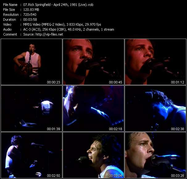 Screenshot of Music Video Rick Springfield - April 24th, 1981 (Live)