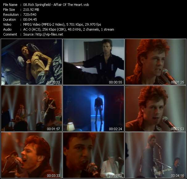Screenshot of Music Video Rick Springfield - Affair Of The Heart