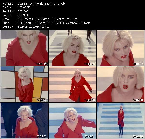 Screenshot of Music Video Sam Brown - Walking Back To Me