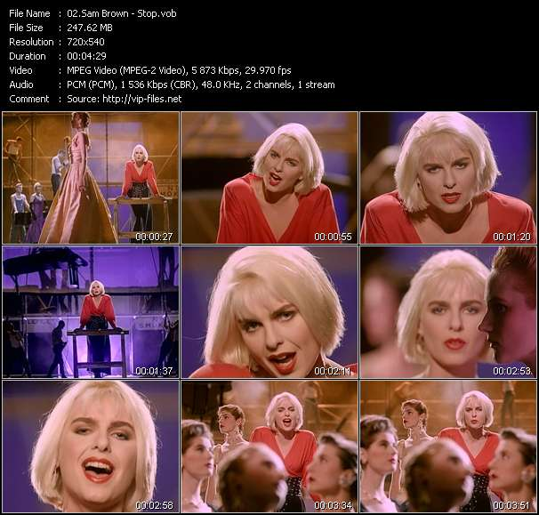 Screenshot of Music Video Sam Brown - Stop