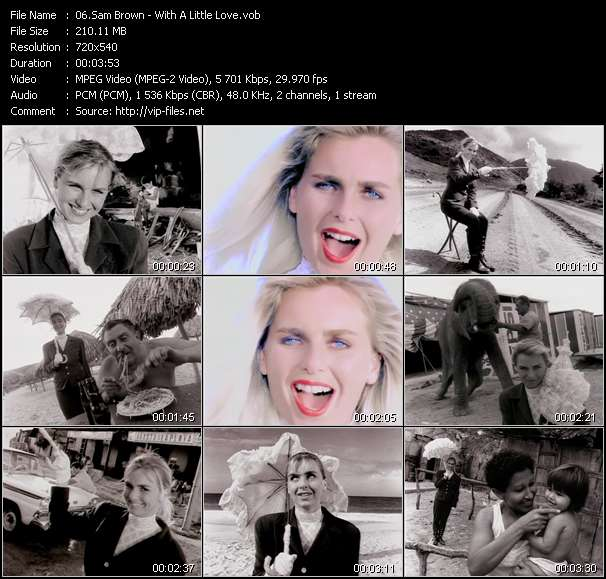 Screenshot of Music Video Sam Brown - With A Little Love