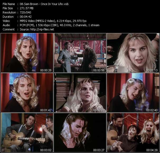 Screenshot of Music Video Sam Brown - Once In Your Life