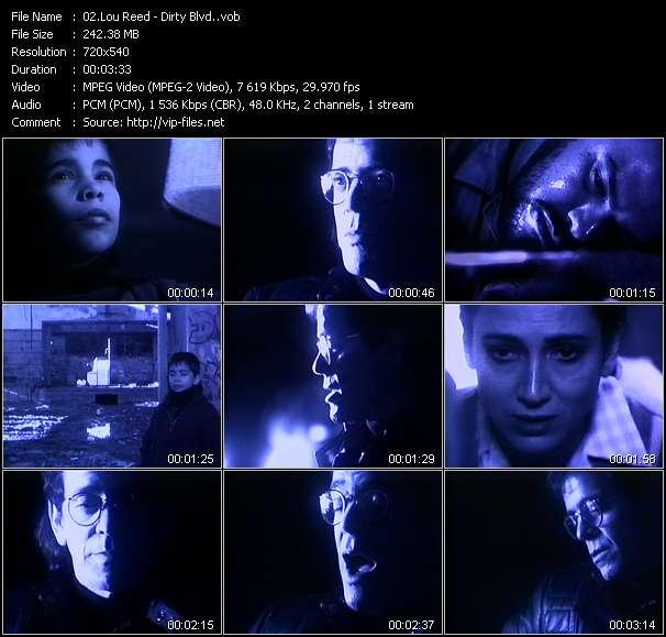 Screenshot of Music Video Lou Reed - Dirty Blvd.