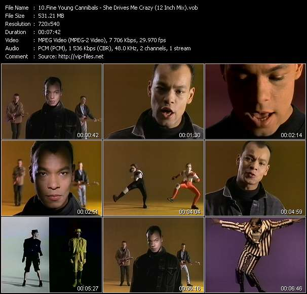Screenshot of Music Video Fine Young Cannibals - She Drives Me Crazy (12 Inch Mix)