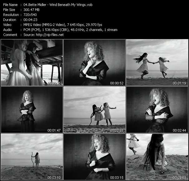 Screenshot of Music Video Bette Midler - Wind Beneath My Wings