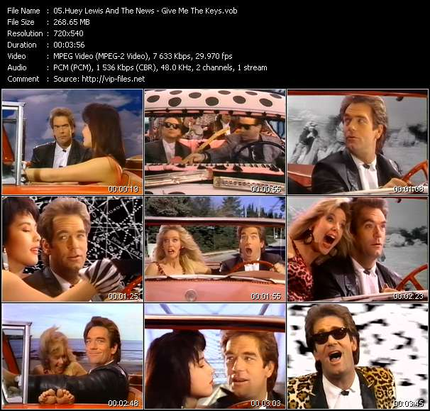 Screenshot of Music Video Huey Lewis And The News - Give Me The Keys