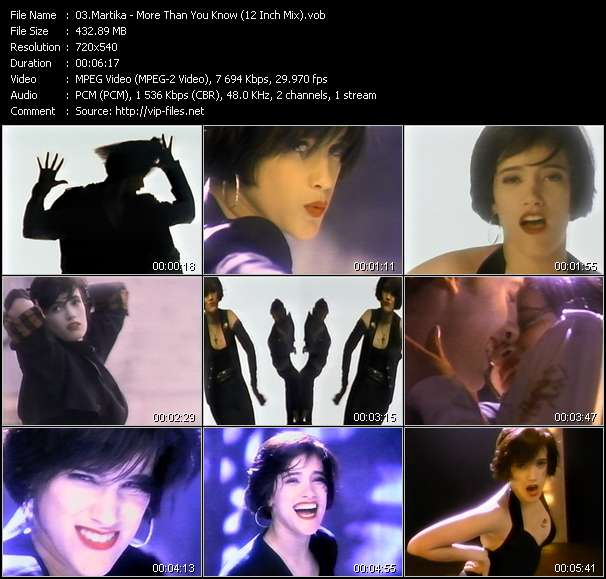Screenshot of Music Video Martika - More Than You Know (12 Inch Mix)
