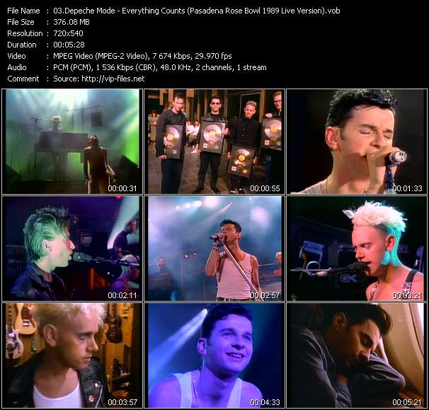 Screenshot of Music Video Depeche Mode - Everything Counts (Pasadena Rose Bowl 1989 Live Version)
