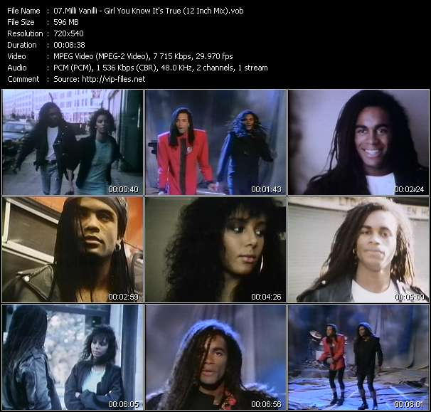 Screenshot of Music Video Milli Vanilli - Girl You Know It's True (12 Inch Mix)