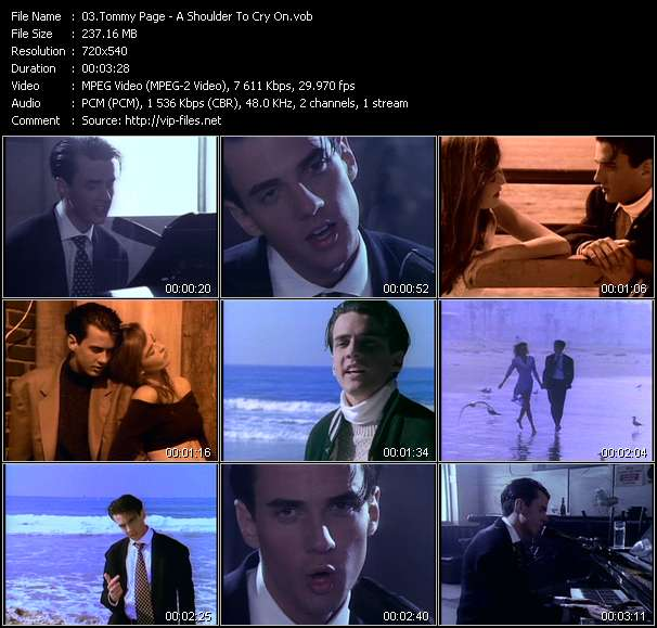 Screenshot of Music Video Tommy Page - A Shoulder To Cry On