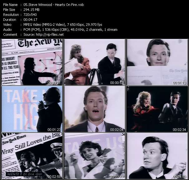 Screenshot of Music Video Steve Winwood - Hearts On Fire