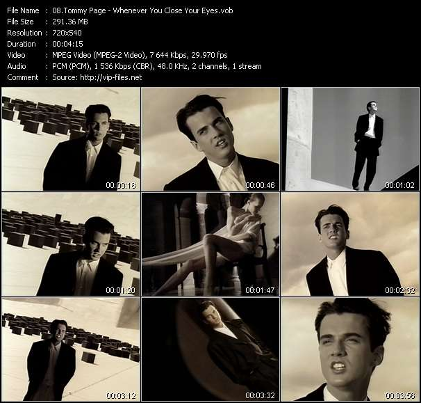 Screenshot of Music Video Tommy Page - Whenever You Close Your Eyes