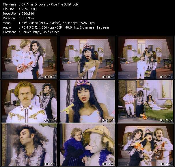 Screenshot of Music Video Army Of Lovers - Ride The Bullet