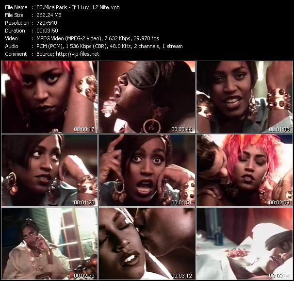 Screenshot of Music Video Mica Paris - If I Luv U 2 Nite