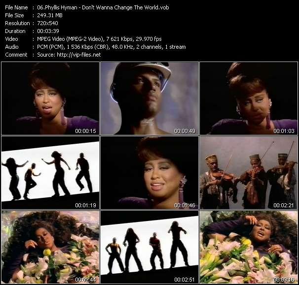 Screenshot of Music Video Phyllis Hyman - Don't Wanna Change The World