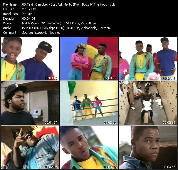 Screenshot of Music Video Tevin Campbell - Just Ask Me To (From Boyz 'N' The Hood)