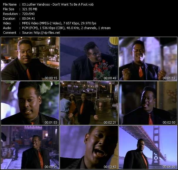 Screenshot of Music Video Luther Vandross - Don't Want To Be A Fool
