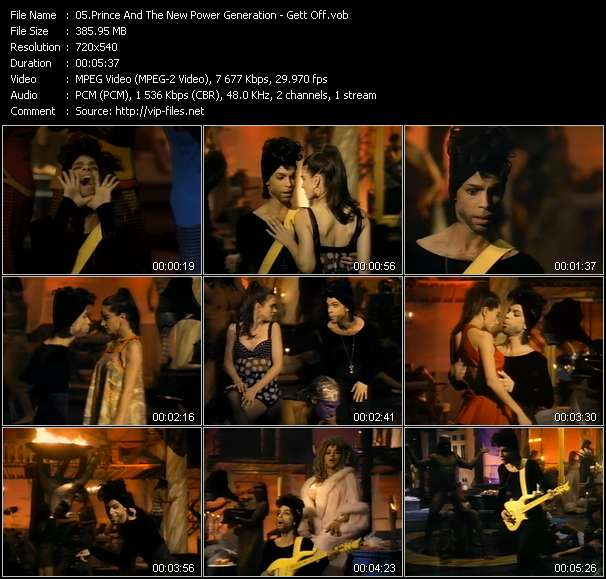 Screenshot of Music Video Prince And The New Power Generation - Gett Off