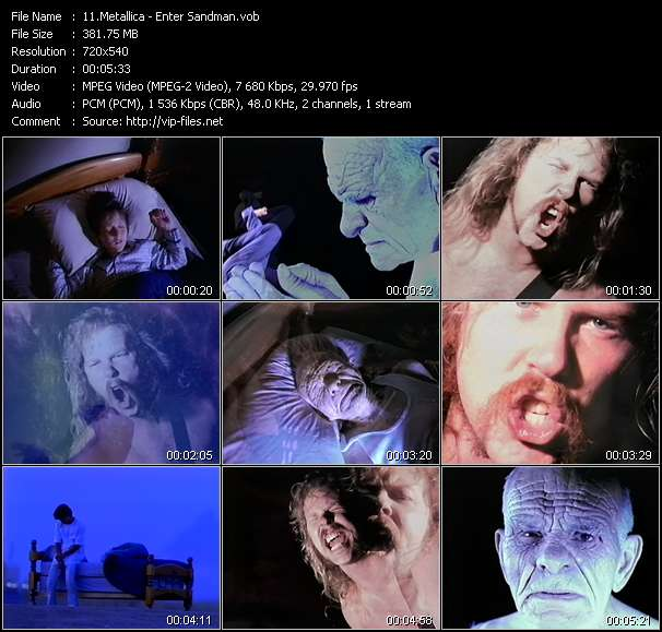 Metallica clips musicaux vob