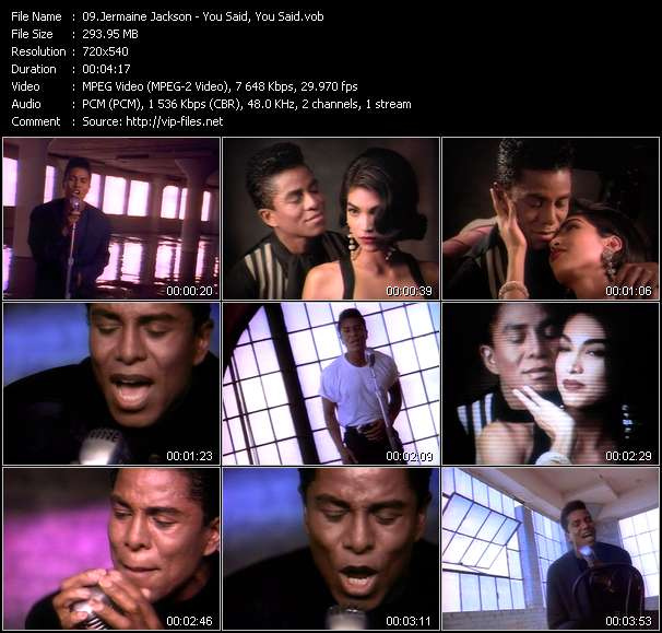 Screenshot of Music Video Jermaine Jackson - You Said, You Said