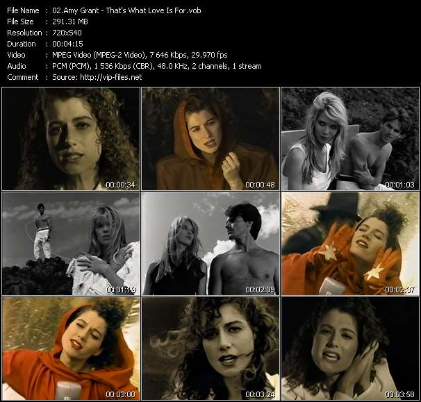 Screenshot of Music Video Amy Grant - That's What Love Is For