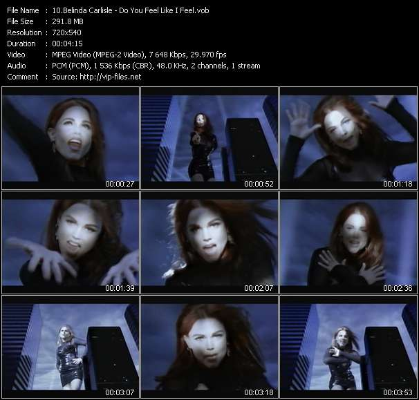 Screenshot of Music Video Belinda Carlisle - Do You Feel Like I Feel?