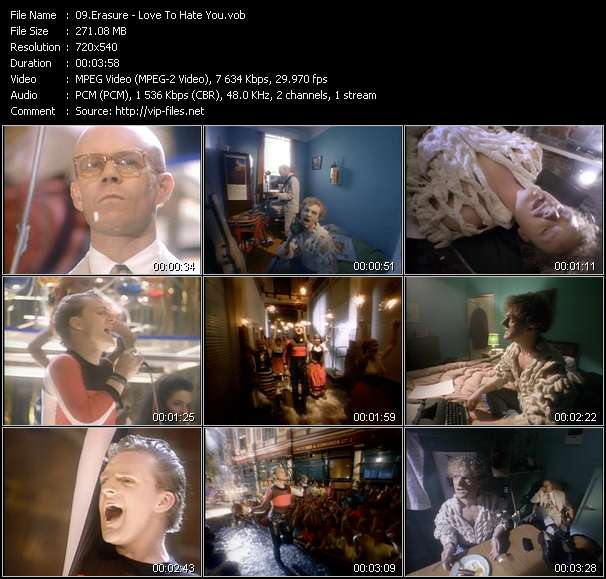 Screenshot of Music Video Erasure - Love To Hate You