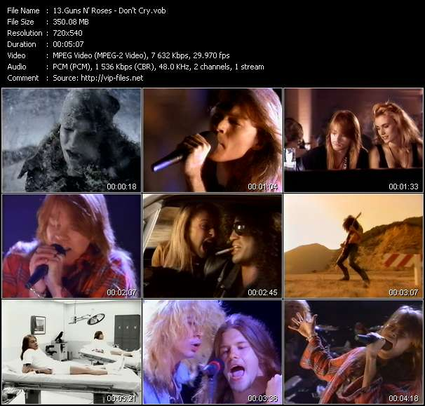 Screenshot of Music Video Guns N' Roses - Don't Cry