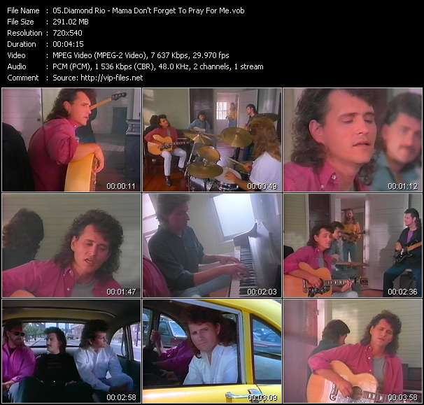 Screenshot of Music Video Diamond Rio - Mama Don't Forget To Pray For Me