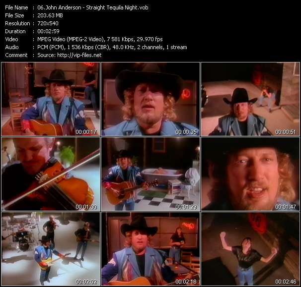 Screenshot of Music Video John Anderson - Straight Tequila Night
