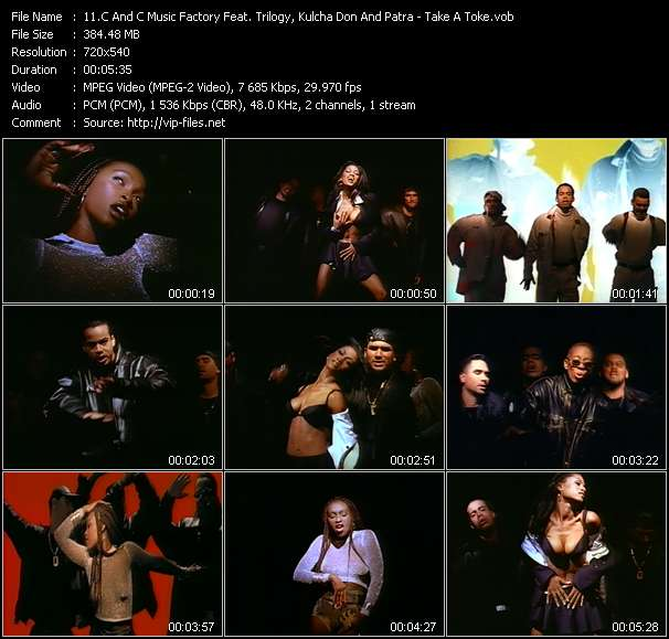 Screenshot of Music Video C And C Music Factory Feat. Trilogy, Kulcha Don And Patra - Take A Toke