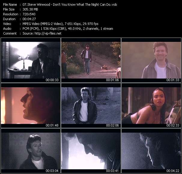 Screenshot of Music Video Steve Winwood - Don't You Know What The Night Can Do?