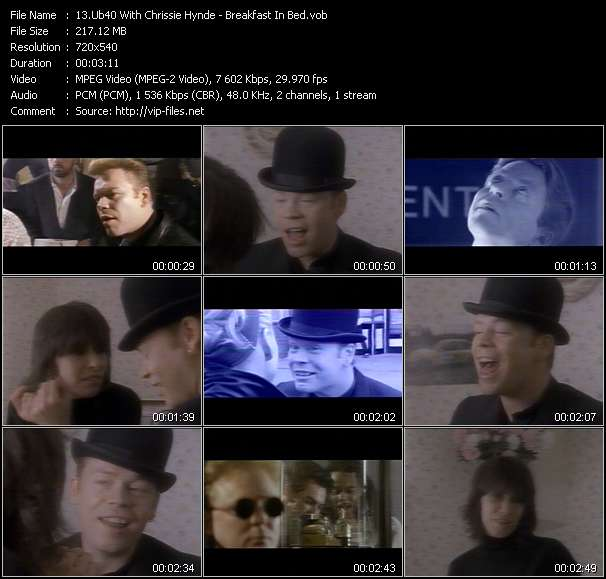 Screenshot of Music Video Ub40 With Chrissie Hynde - Breakfast In Bed