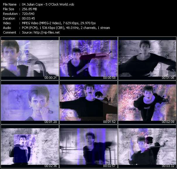 Screenshot of Music Video Julian Cope - 5 O'Clock World