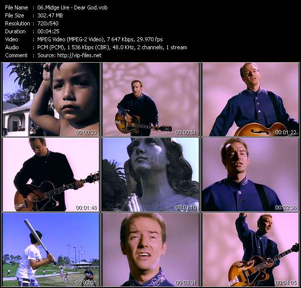 Screenshot of Music Video Midge Ure - Dear God
